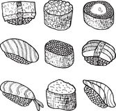 Sushi set collection. Coloring page for adult book. Vector   Stock Photos