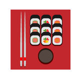 Sushi set color vector flat icon stock image