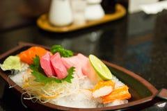 The sushi set composing of tuna, salmon , imitating crab stick Stock Image