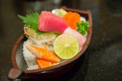 The sushi set composing of tuna, salmon , imitating crab stick Stock Photo