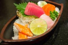 The sushi set composing of tuna, salmon , imitating crab stick Stock Images
