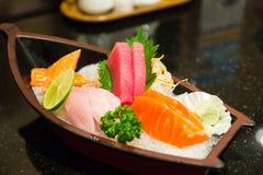 The sushi set composing of tuna, salmon , imitating crab stick Stock Photography