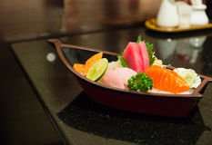 The sushi set composing of tuna, salmon , imitating crab stick Stock Photos