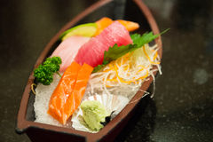 The sushi set composing of tuna, salmon , imitating crab stick Royalty Free Stock Photos