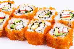 Sushi set-crab meat, avocado and red caviar Royalty Free Stock Images