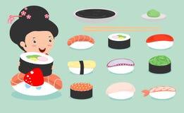 Sushi set, cute japanese Girl in kimono holding with sushi, cute sushi set, Japanese food, sushi icons,Girl with Sushi Stock Photos