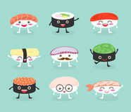 Sushi set, cute sushi set, Japanese food, sushi icons, Vector cartoon. Cartoon characters,Vector Illustration Stock Photo