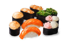 Sushi set, different kinds of baked, Chuka, seaweed, salmon, squid, nice, neat, isolated Royalty Free Stock Image