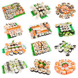 Sushi set - Different types of maki sushi Stock Photo