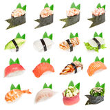 Sushi set - Different types of sushes Royalty Free Stock Images