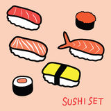 Sushi set doodle Stock Image