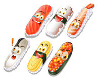 Sushi set with faces Stock Images
