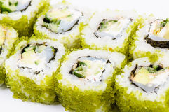 Sushi set with fish and green caviar Stock Photo