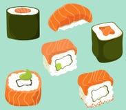 Sushi set in flat cartoon style. Vector isolates. Sushi set in flat cartoon style. Vector vector illustration
