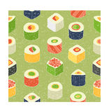 Sushi set. Flat design rolled sushi pattern. Vector Illustration Stock Photos