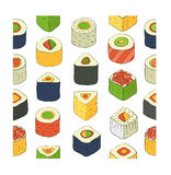 Sushi set. Flat design rolled sushi pattern. Vector Illustration Stock Image