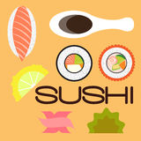 Sushi set flat disign. Vector illustration EPS10 Royalty Free Stock Photo