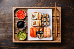 Sushi Set with ginger, soy sauce and wasabi in tray Royalty Free Stock Photo