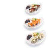 Sushi set with ginger wasabi and soy sauce Stock Photos