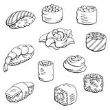 Sushi set graphic black white isolated food sketch illustration Royalty Free Stock Photography