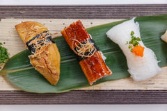 Sushi Set : Grilled Foie Gras, Grilled Unagi Japanese Freshwater Eel, Squid. Stock Photos