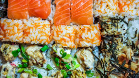 Sushi Set gunkan, nigiri and rolls close up stock photo