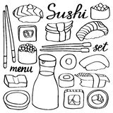 Sushi set. Hand-drawn cartoon collection of Royalty Free Stock Photo