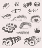 Sushi Set Hand drawn Engraving Vintage Vector Stock Image