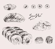 Sushi Set Hand drawn Engraving Vintage Vector Stock Photo