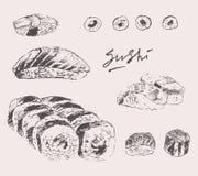 Sushi Set Hand drawn Engraving Vintage Vector. Illustration vector illustration