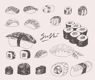 Sushi Set Hand drawn Engraving Vintage Vector Royalty Free Stock Photos
