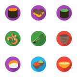 Sushi set icons in flat style. Big collection of sushi vector symbol. Stock royalty free illustration