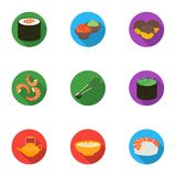 Sushi set icons in flat style. Big collection of sushi vector symbol stock illustration. Sushi set icons in flat style. Big collection of sushi vector symbol stock illustration
