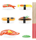Sushi set icons vector illustration Royalty Free Stock Photos