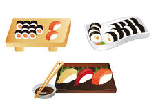 Sushi set illustrations Royalty Free Stock Image
