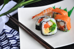 Sushi set. Japanese food sushi set on white plate Stock Photography