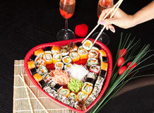 Sushi Set. Japanese seafood, sushi in heart shape. Romantic Dinner Stock Photography