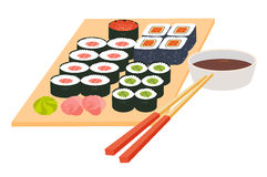 Sushi set.Japanese seafood vector.Asian restaurant food on table. Big sushi set with chopsticks, soy souse, rice with fish fillet, cartoon style.Vector Royalty Free Stock Image
