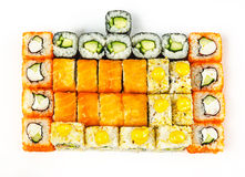 Sushi set. Of 5 kinds of rolls on a white background Royalty Free Stock Photo