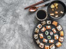 Sushi set in and miso soup stock photography