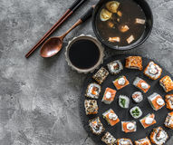 Sushi set in and miso soup royalty free stock images