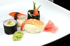 Sushi set with Nigiri and Maki sushi Royalty Free Stock Photography
