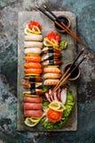 Sushi Set nigiri and sashimi Stock Photos