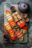 Sushi Set nigiri and sushi rolls with tea Stock Images