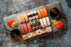 Sushi Set nigiri and sushi rolls for two Stock Photos