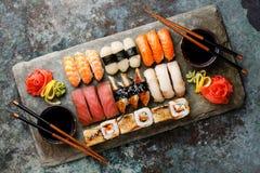 Sushi Set nigiri and sushi rolls for two Stock Photos
