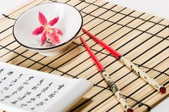Sushi set and orchid flower Stock Image