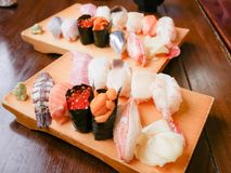 Sushi set from Otaru, Hokkaido, Japan. Variety of sushi such as
