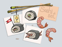 Sushi set painted on stickers. View from above on the table. Vector illustration Stock Images