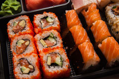 Sushi set in plastic box Royalty Free Stock Photography